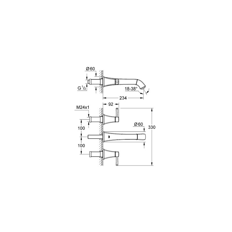 "Grohe Grandera Wall Basin Mixer 1/2"" Medium 20415 Chrome/Gold"
