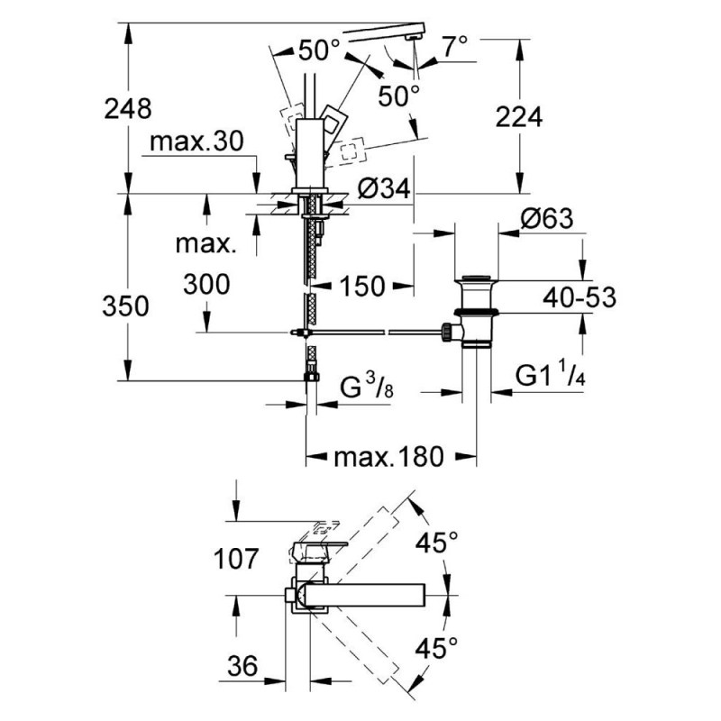 "Grohe Eurocube Single-Lever Mono Basin Mixer 1/2"" Large 23135"