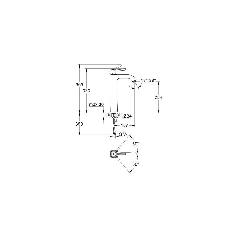 "Grohe Grandera Basin Mixer 1/2"" X-Large 23313 Chrome/Gold"