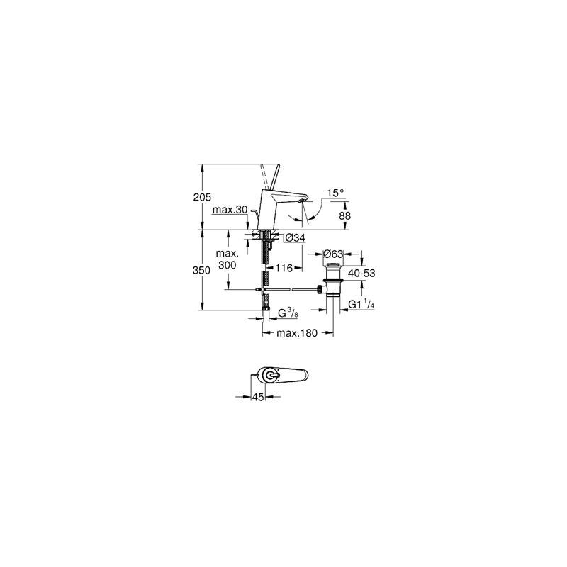 "Grohe Eurodisc Joystick Basin Mixer 1/2"" Small 23425 Moon White"
