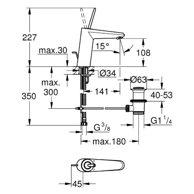 "Grohe Eurodisc Joystick Basin Mixer 1/2"" Medium 23427 Chrome"