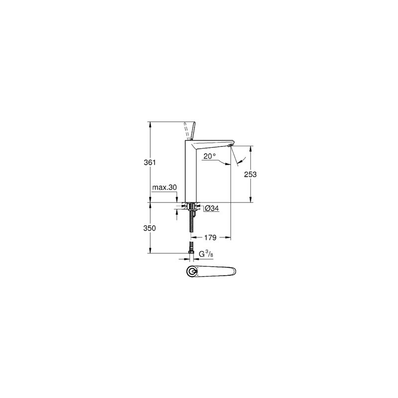 """Grohe Eurodisc Joystick Basin Mixer 1/2"""" X-Large 23428 White"""
