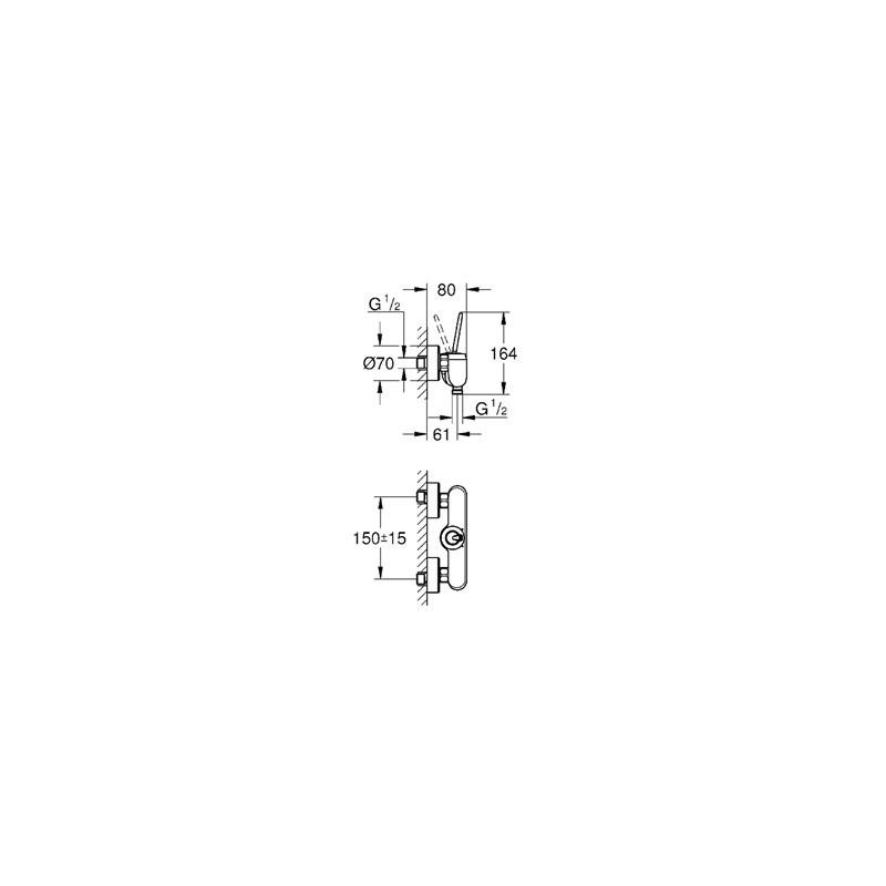"Grohe Eurodisc Joystick Wall Shower Mixer 1/2"" 23430 Chrome"