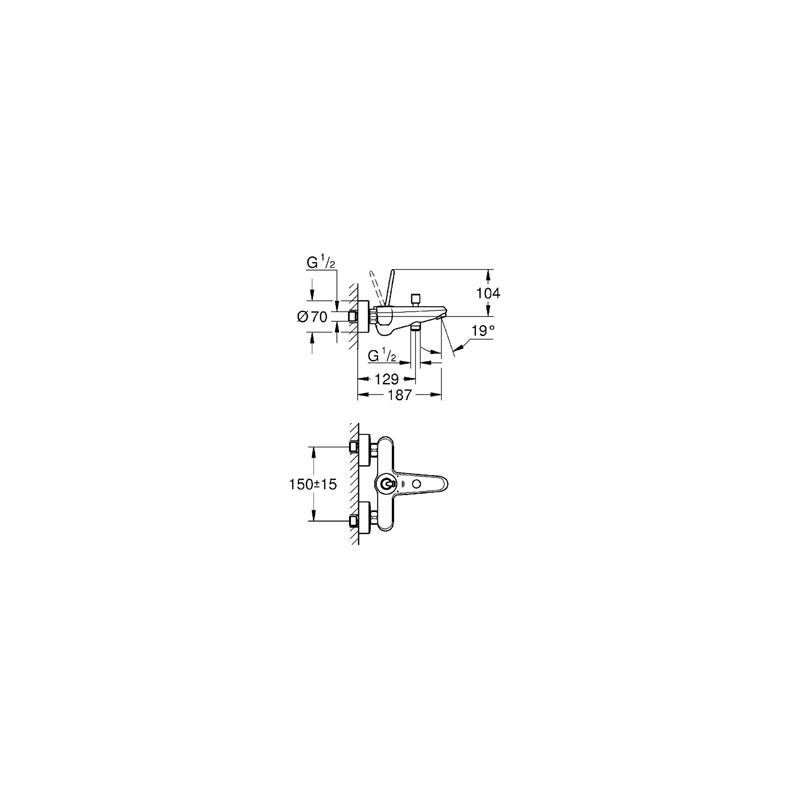 "Grohe Eurodisc Joystick Wall Bath/Shower Mixer 1/2"" 23431 White"