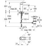 "Grohe Eurocube Basin Mixer with Pop-Up Waste 1/2"" Medium 23445"