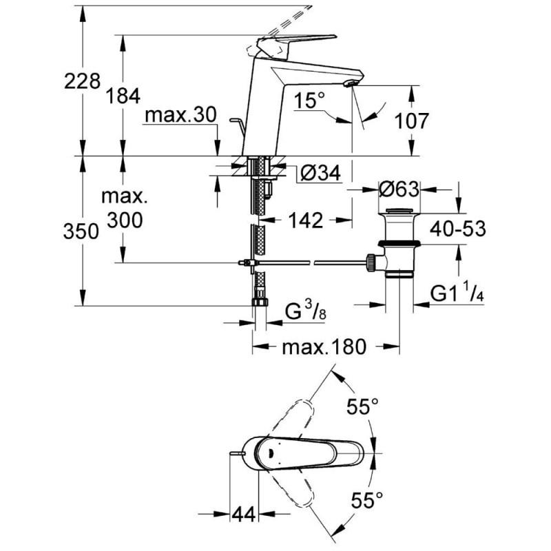 """Grohe Eurodisc Cosmopolitan Mono Basin Mixer 1/2"""" Medium 23448"""