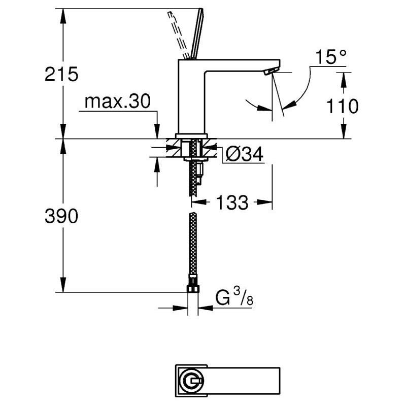 "Grohe Eurocube Joy Basin Mixer 1/2"" M-Size 23658"