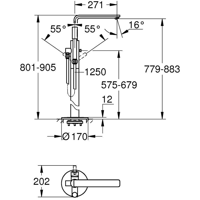 Grohe Lineare Floor Mounted Bath Mixer Tap 23792 Supersteel