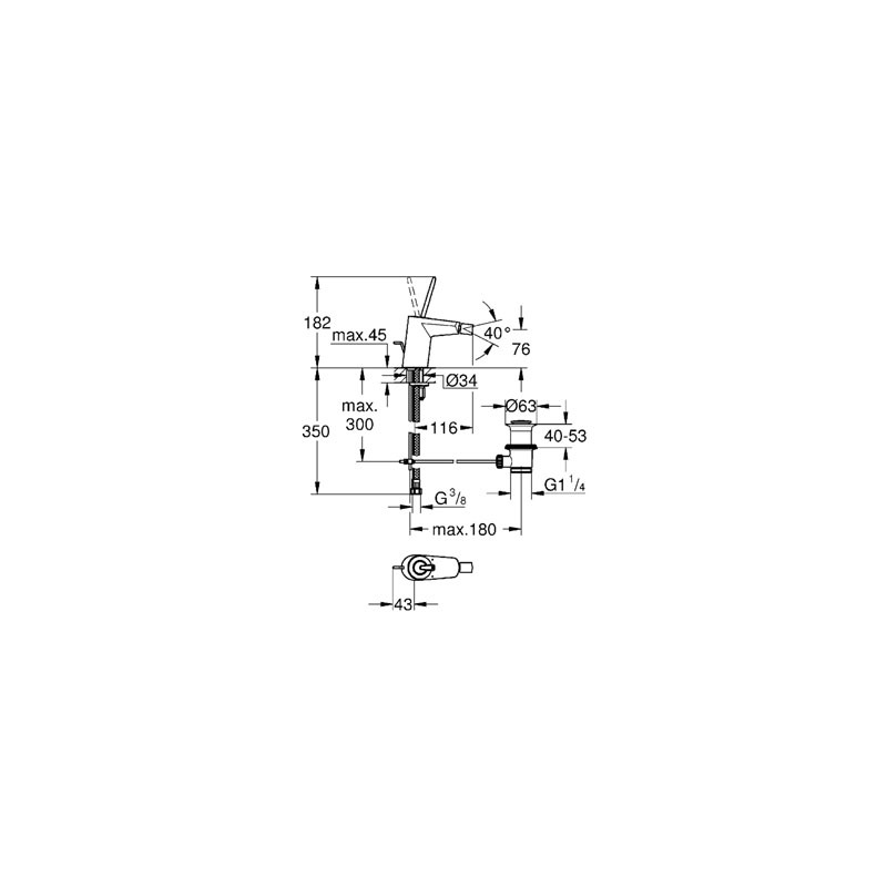 """Grohe Eurodisc Joystick Bidet Mixer 1/2"""" Small 24036 Moon White"""