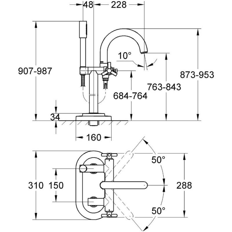 "Grohe Atrio Ypsilon Floor Mounted Bath/Shower Mixer 1/2"" 25044"
