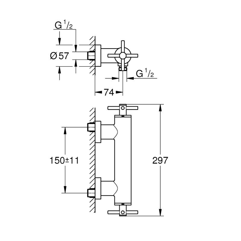 Grohe Atrio Cross Handle Shower Mixer 26003 Brushed Graphite
