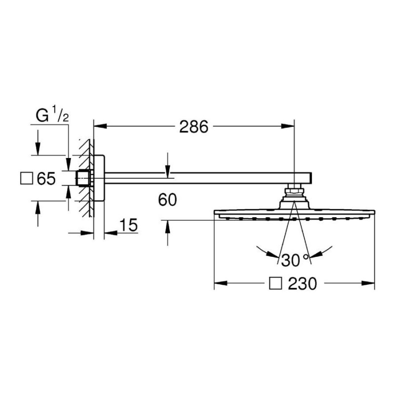 Grohe Rainshower Allure 210 Head Shower Set 286mm 26054