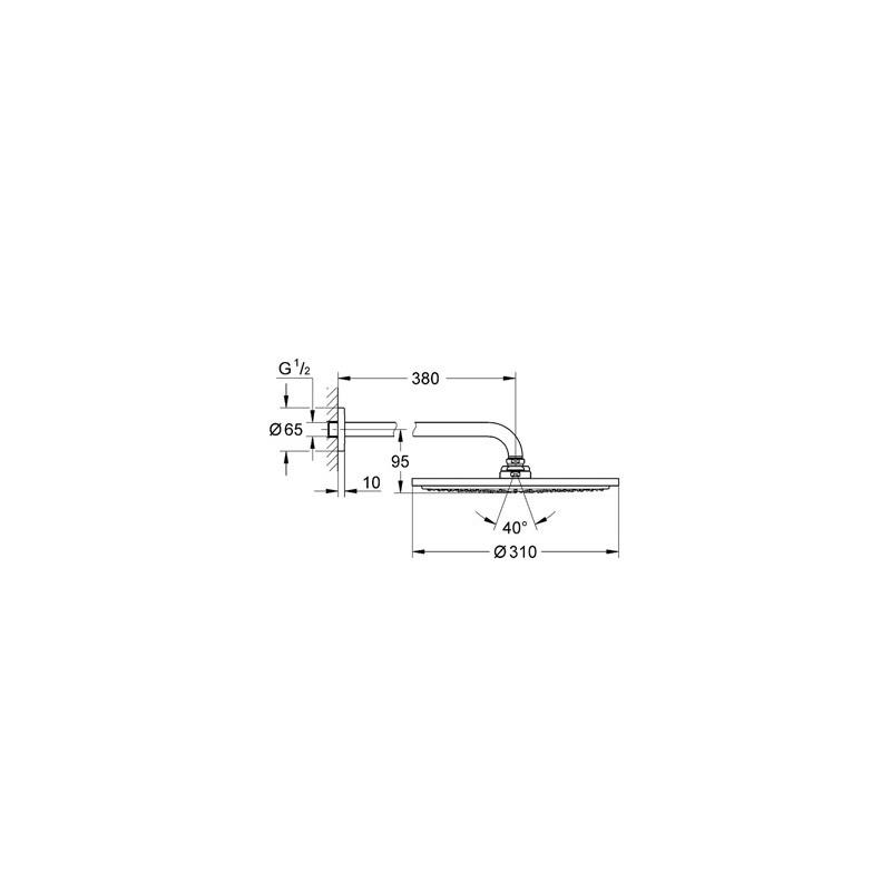 Grohe Rainshower Cosmopolitan 310 Head Shower Set 380mm 26056