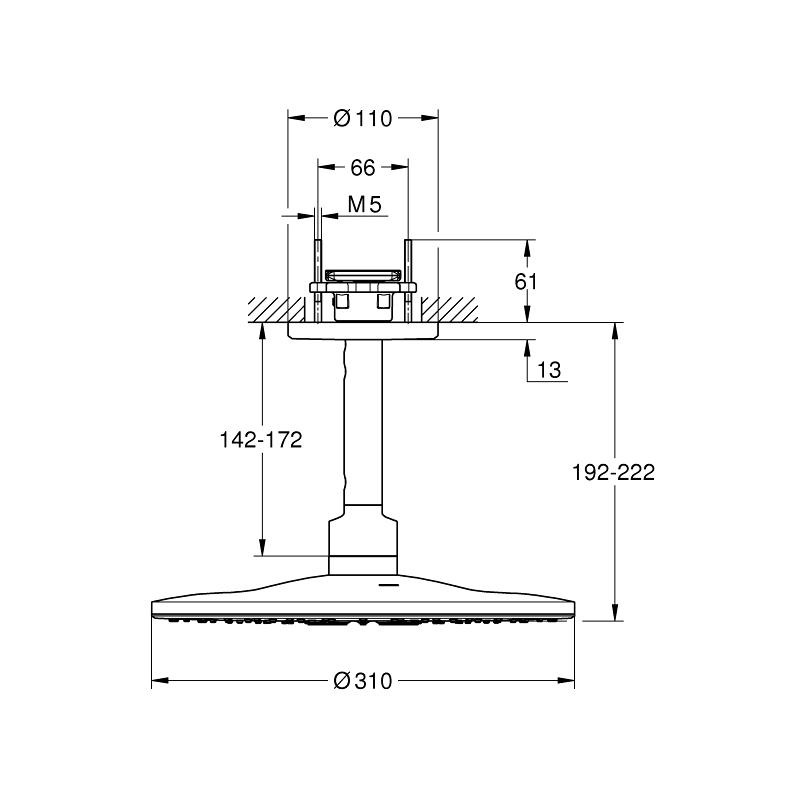Grohe Rainshower 310 SmartActive Ceiling Head Shower Set 26477