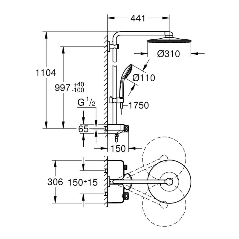 Grohe Euphoria SmartControl 310 Thermostatic Shower System 26507