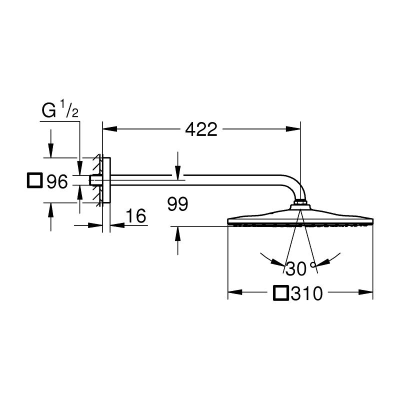 Grohe Rainshower Mono 310 Cube Head Shower Set 26563