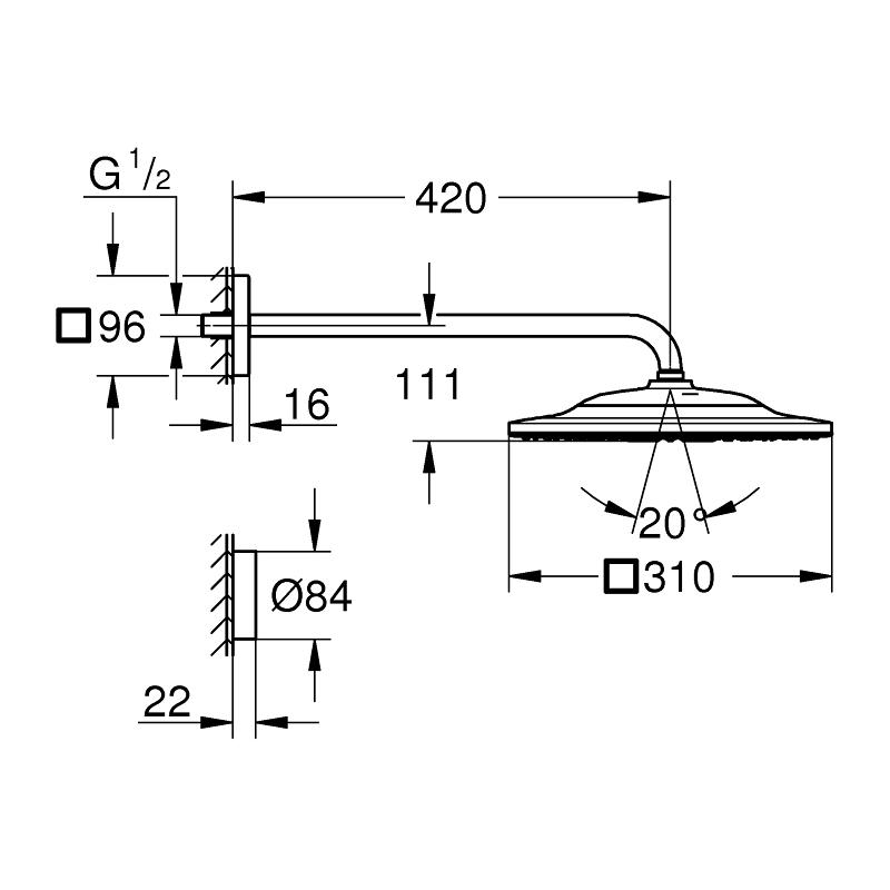Grohe Rainshower Smartconnect 310 Cube Shower Set 422mm 26642