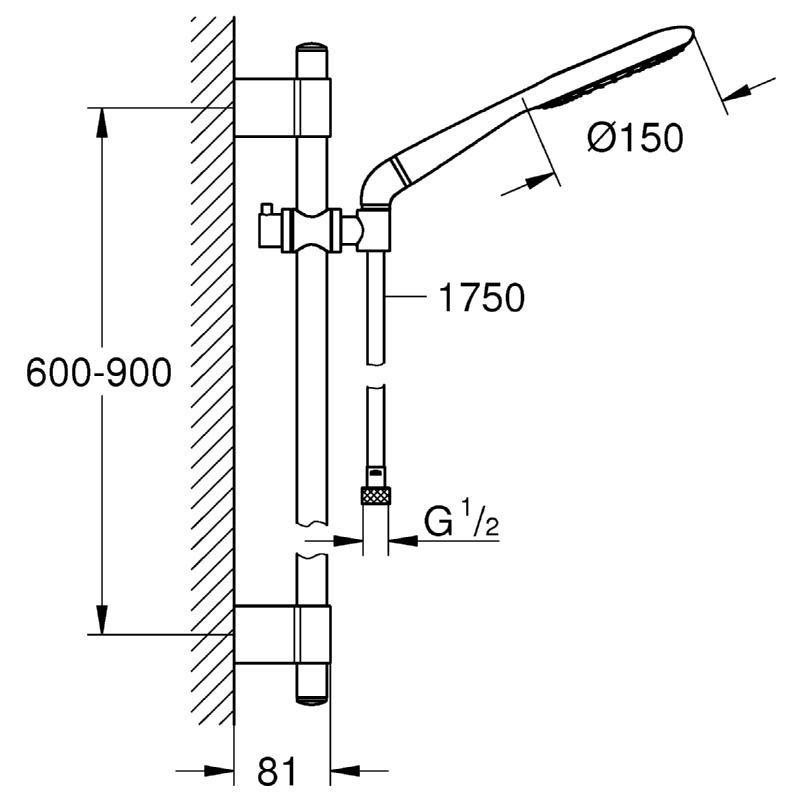 Grohe Rainshower Icon 150 900mm Shower Rail Set 2 Sprays 27277