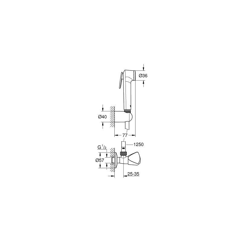 Grohe Tempesta-F 30 Trigger Spray Set with Angle Valve 27514
