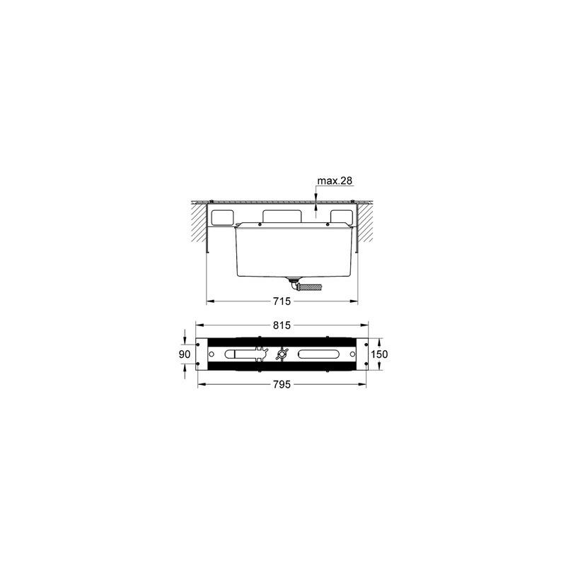 Grohe 4/5-Hole Bath Combination Baseframe 29037