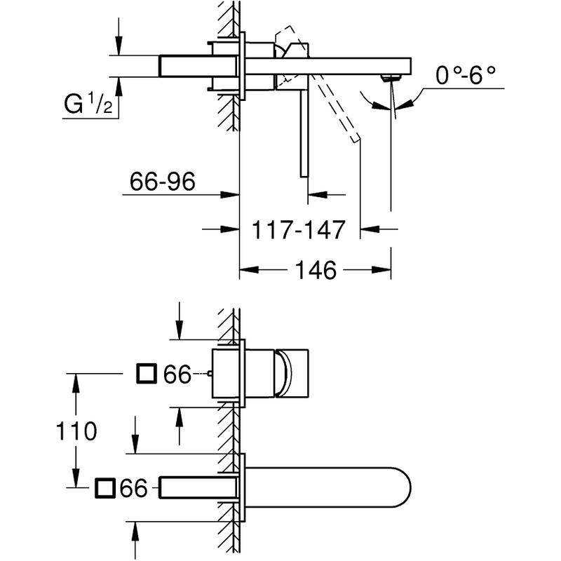 Grohe Plus 2-Hole Wall Basin Mixer M-Size 29303
