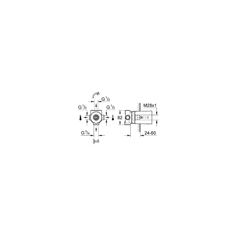 Grohe 4-Way Diverter Concealed Body 29707