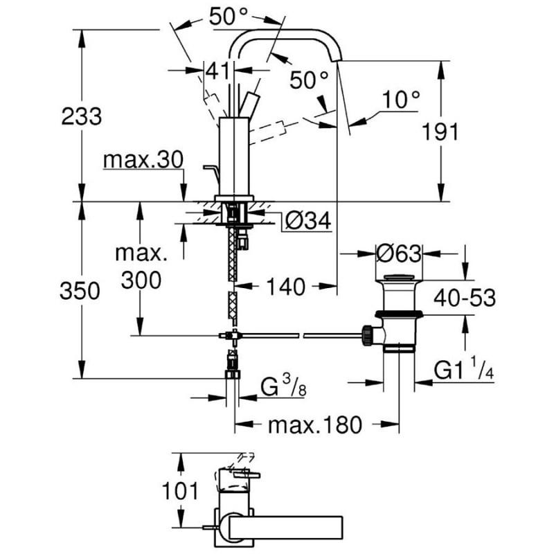 "Grohe Allure Single-Lever Mono Basin Mixer 1/2"" Large 32146"