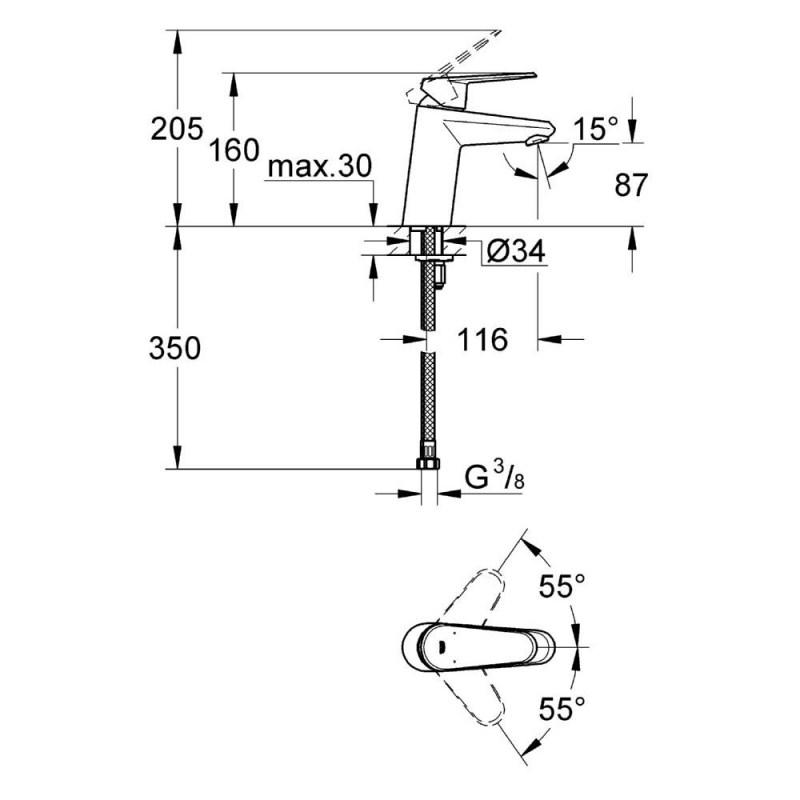 """Grohe Eurodisc Cosmopolitan Mono Basin Mixer 1/2"""" Small 32469"""