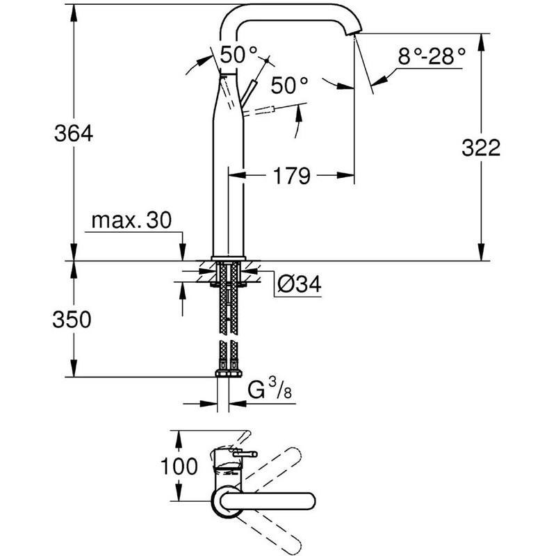 "Grohe Essence Single-Lever Basin Mixer 1/2"" XL-Size 32901 Chrome"