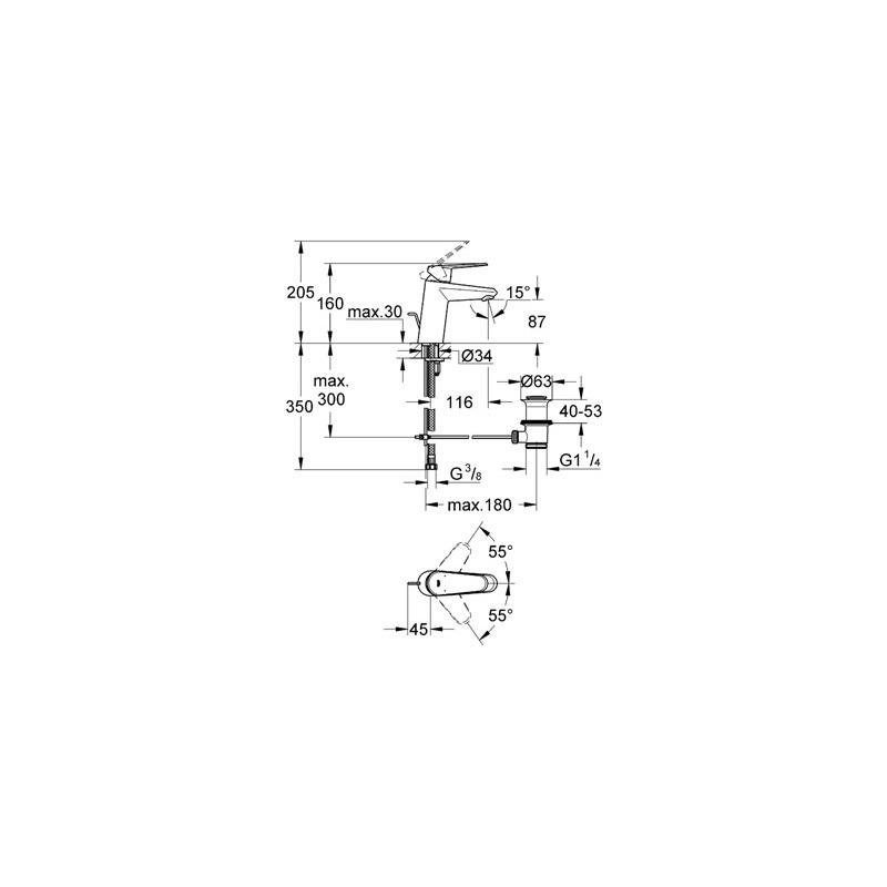"""Grohe Eurodisc Cosmopolitan Mono Basin Mixer 1/2"""" Small 33190"""