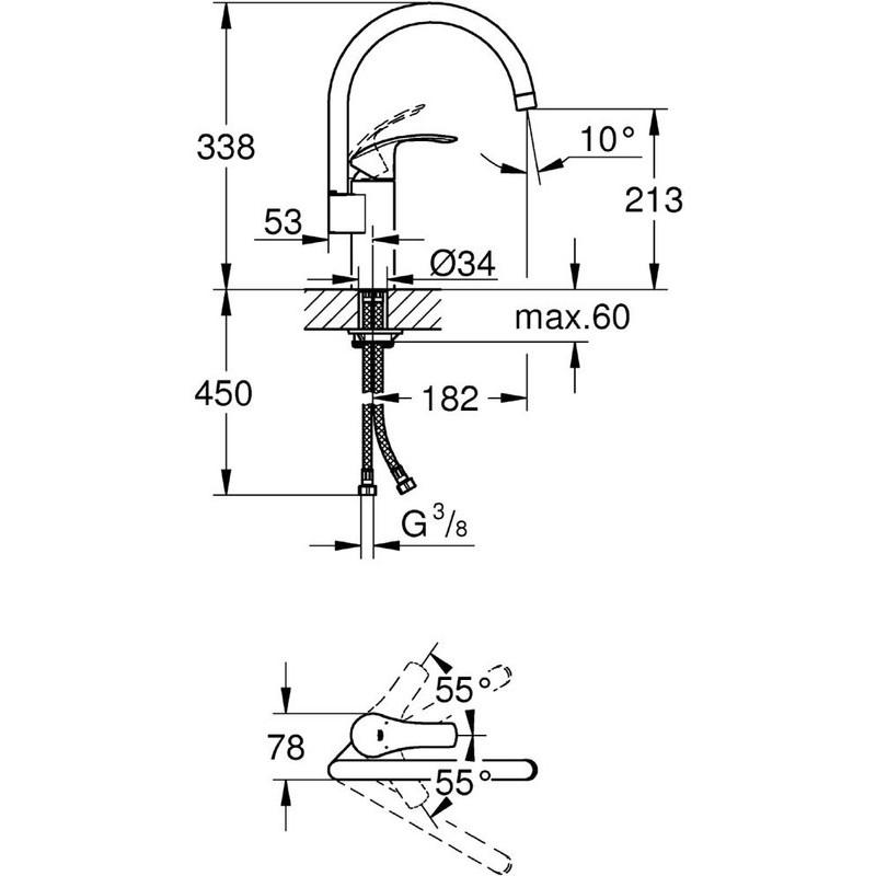 "Grohe Eurosmart  Sink Mixer 1/2"" 33202 Chrome"