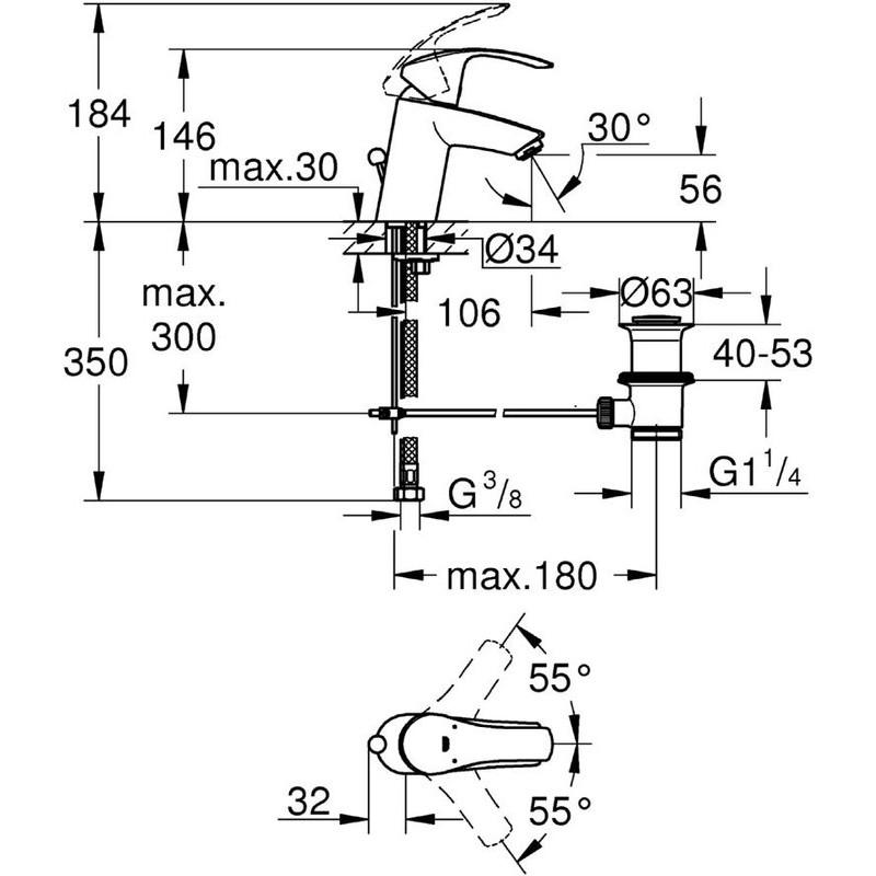 "Grohe Eurosmart  Basin Mixer 1/2""  S-Size 33265 Chrome"