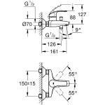 "Grohe Eurosmart  Single-Lever Bath/Shower Mixer 1/2"" 33300"