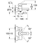 """Grohe Lineare Single-Lever Wall Bath/Shower Mixer 1/2"""" 33849"""