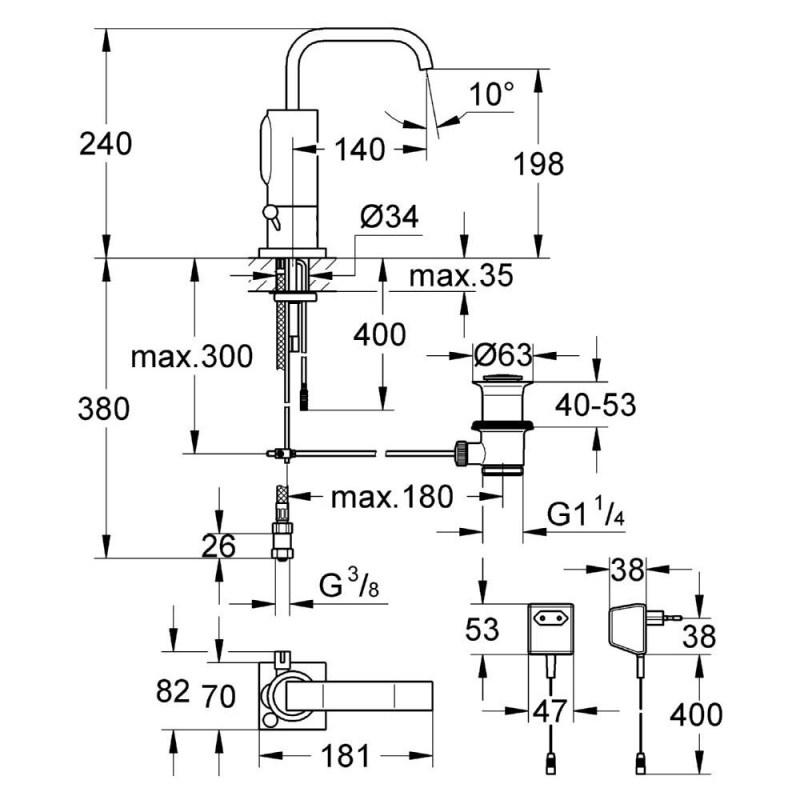 "Grohe Allure E Infra-Red Mono Basin Mixer Mains 1/2"" 36097"