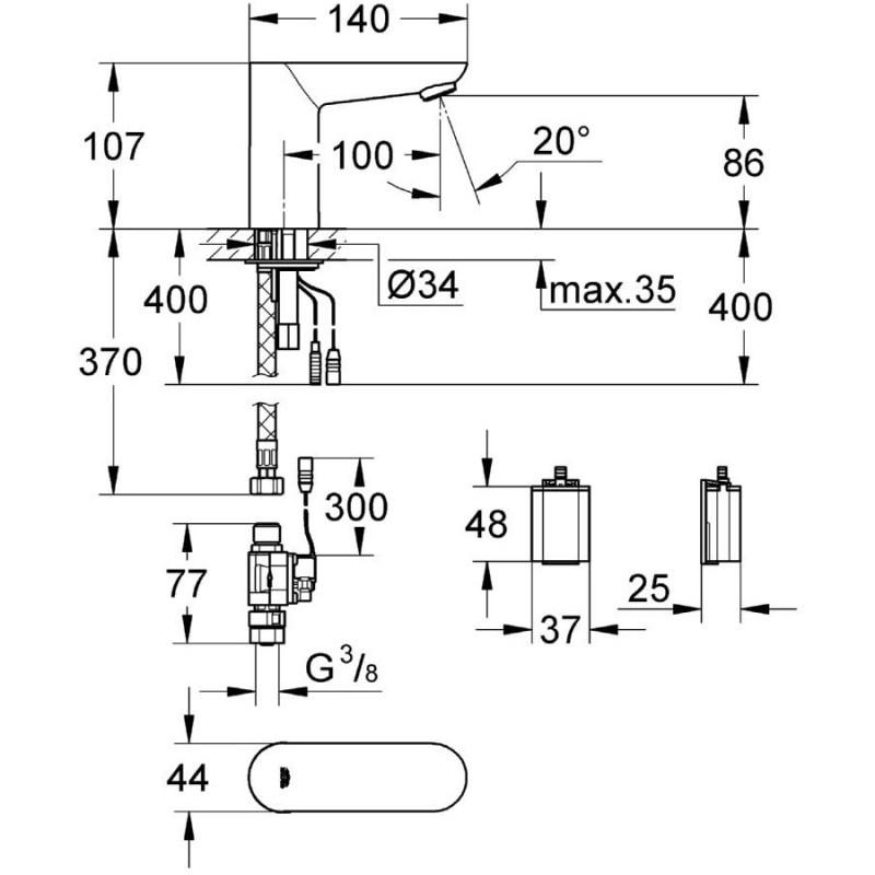 Grohe Euroeco Cosmopolitan E Infra-Red Basin Tap Battery 36271