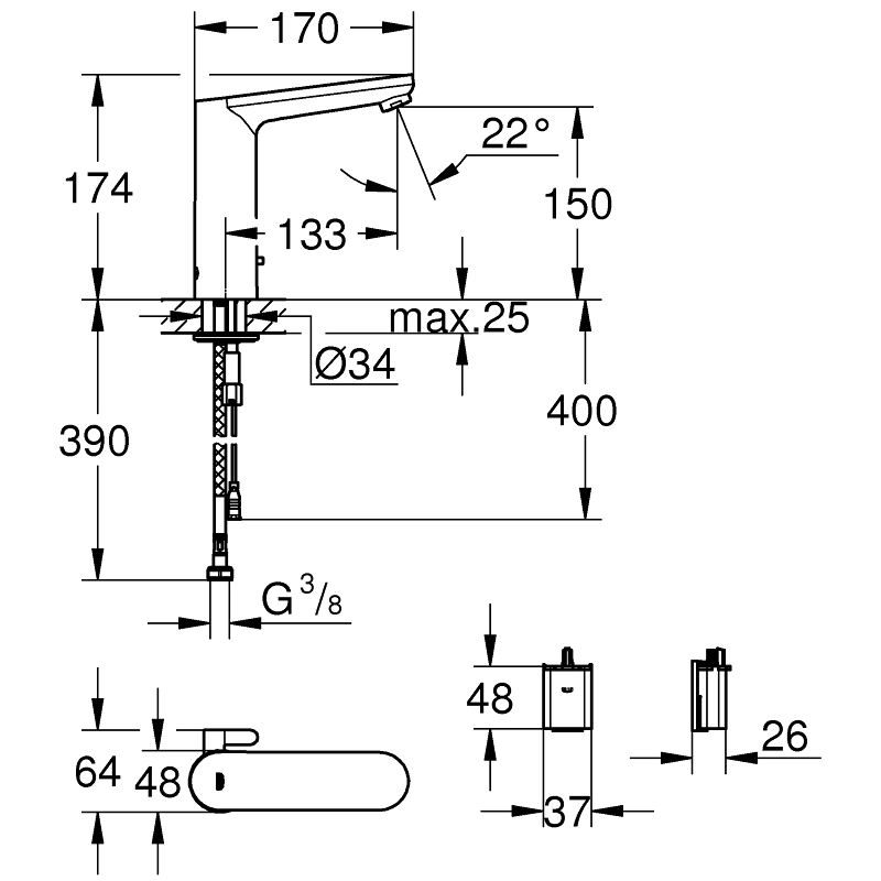 Grohe Eurosmart Cosmo E Infra-Red Electronic Basin Mixer 36422