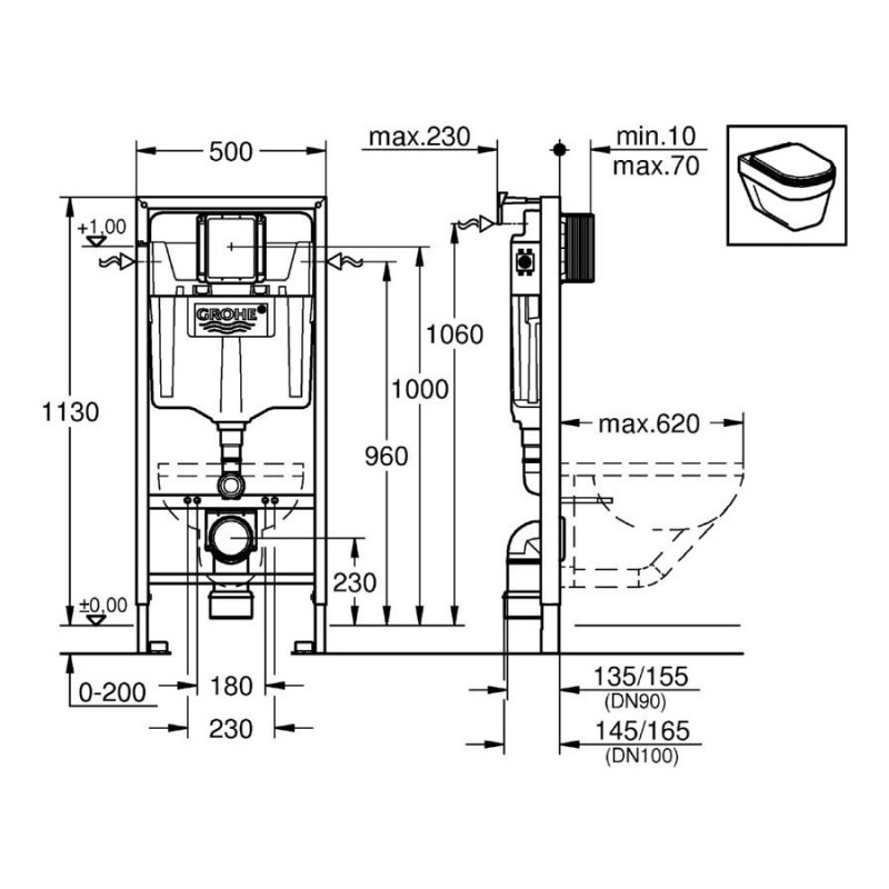 Grohe Rapid SL WC 1.13m 38536