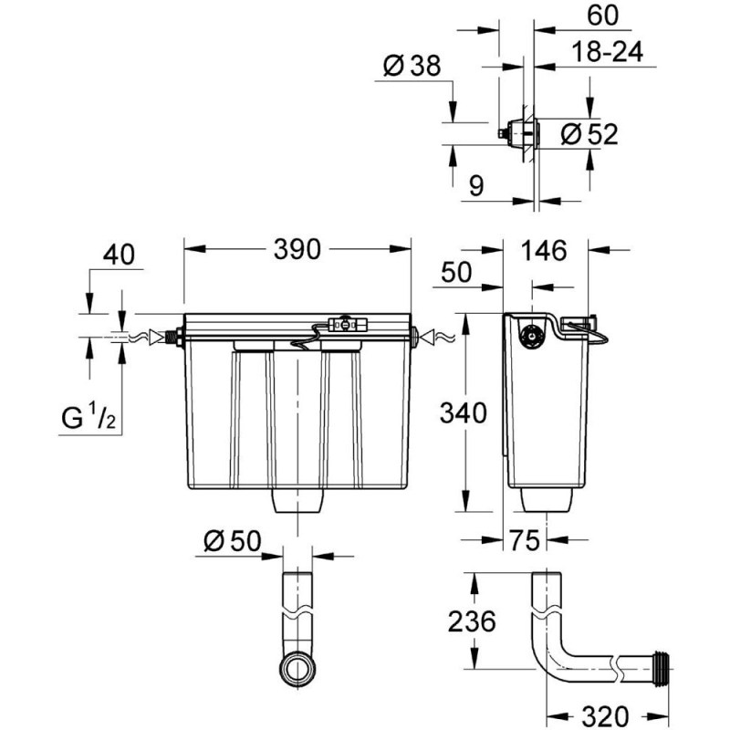 Grohe Concealed Flushing Cistern Dual Flush Side Fill 39054