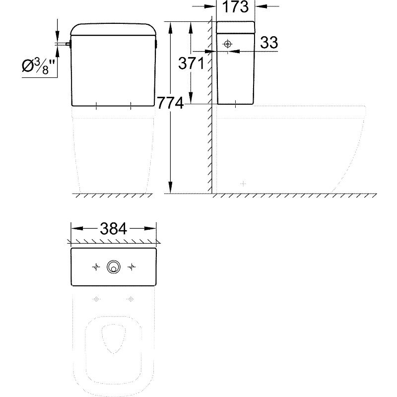 Grohe Euro Ceramic Exposed Flushing Cistern 39333