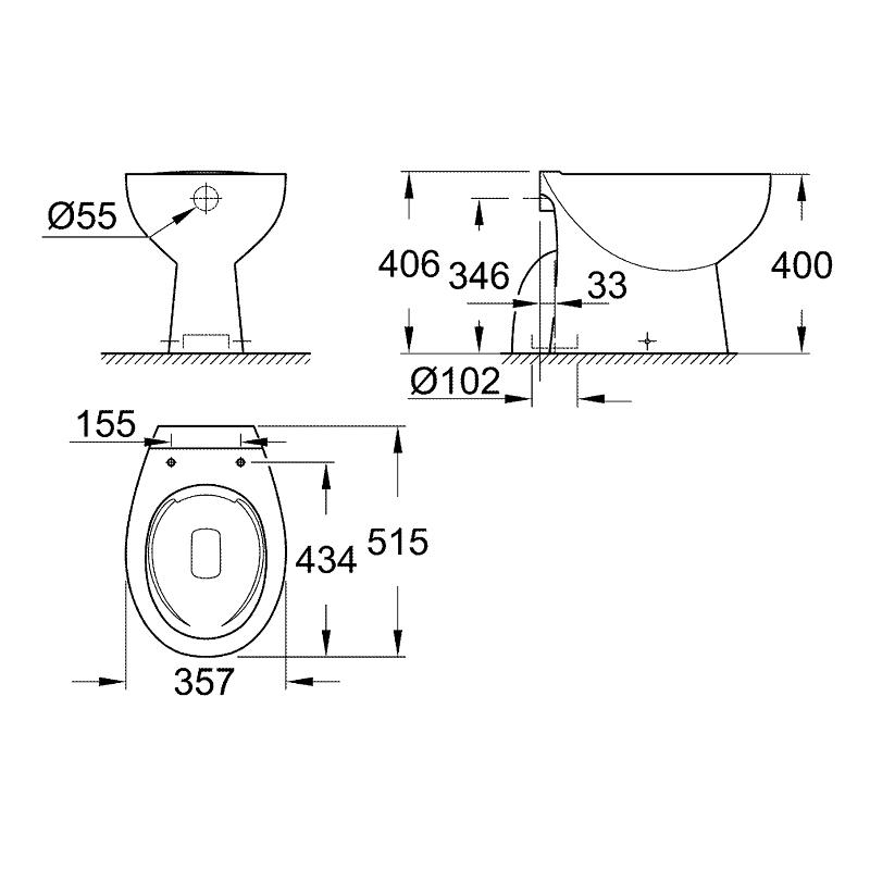 Grohe Bau Ceramic Floor Standing Rimless WC Pan 39431