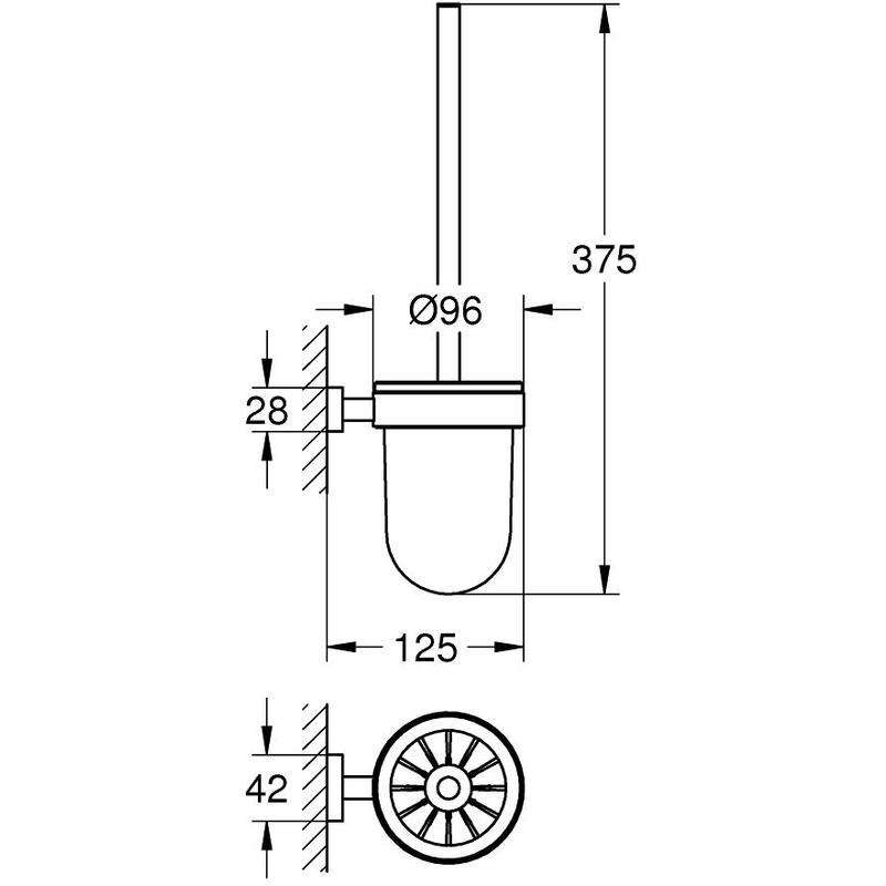 Grohe Essentials Cube Toilet Brush Set 40513