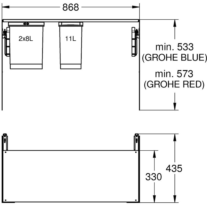 Grohe Blue Waste Separation System 90cm - 8 L / 8 L / 11 L 40983