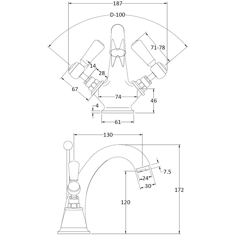 Hudson Reed White Topaz Lever Mono Basin Mixer Hex