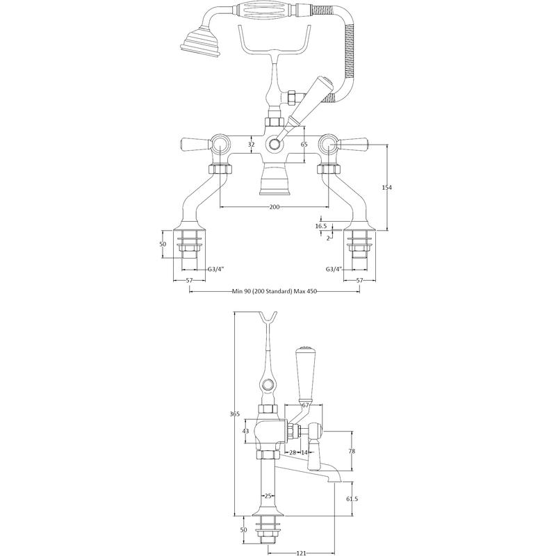 Hudson Reed Black Topaz Lever Bath Shower Mixer Hexagonal