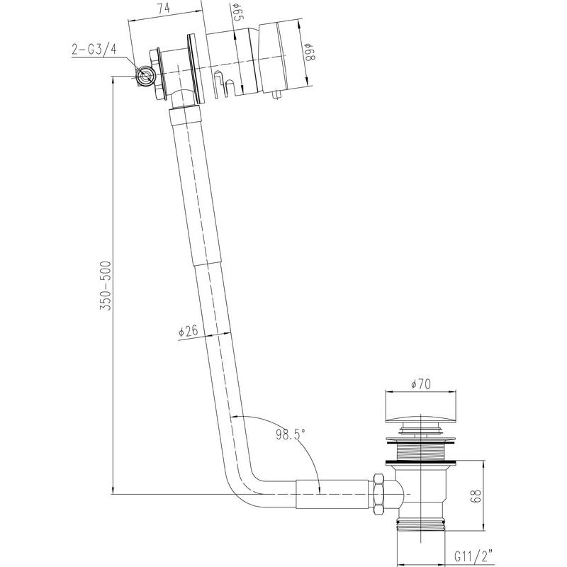 Hudson Reed Freeflow Bath Filler for 10mm Baths