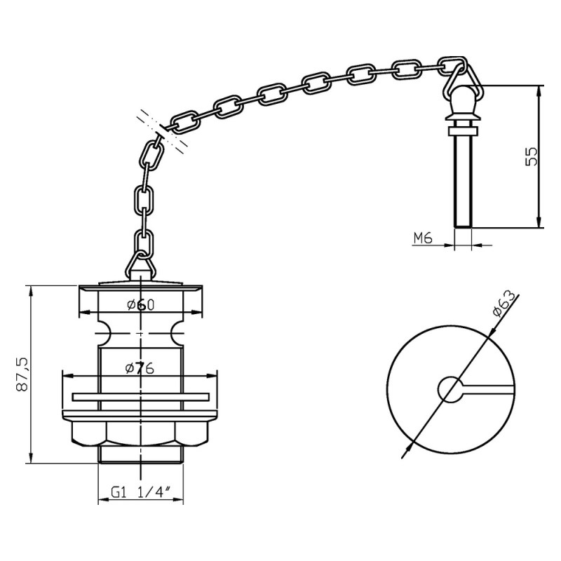 Hudson Reed Basin Waste with Link Chain