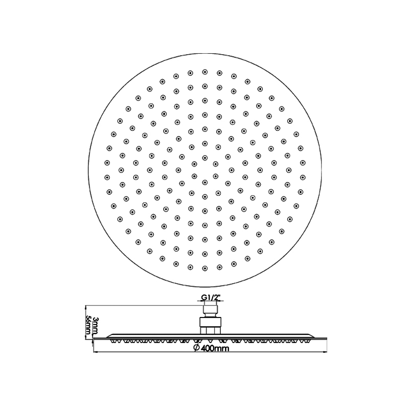 Hudson Reed Round Minimalist Fixed Shower Head 400mm