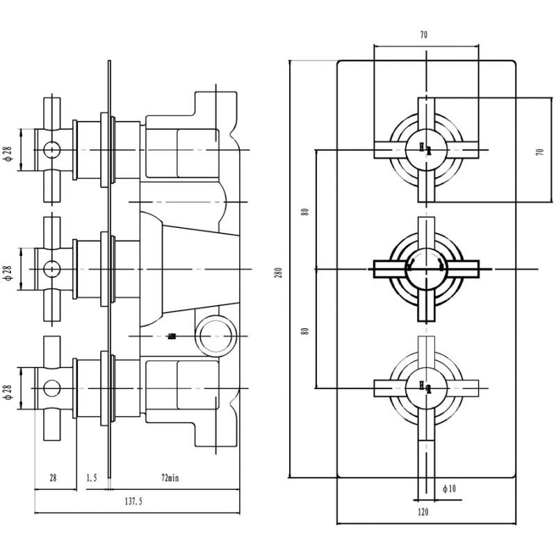 Hudson Reed Tec Crosshead Triple Shower Valve