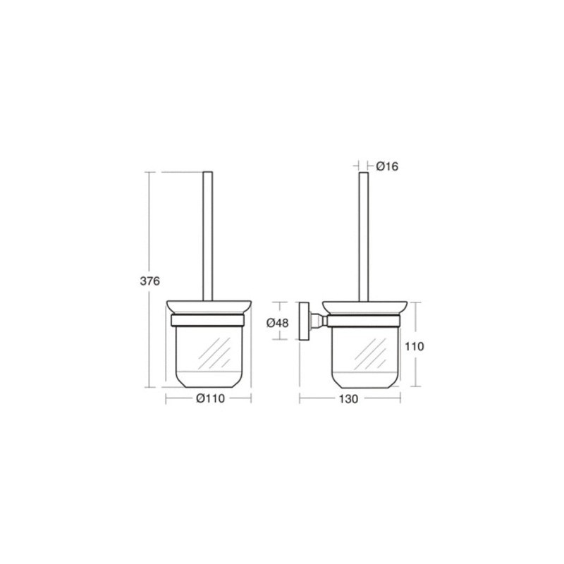 Ideal Standard IOM Toilet Brush & Frosted Glass Holder A9119
